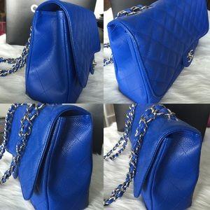 0666d01f11ed CHANEL Bags - Chanel 10C Bleu Roi Caviar Jumbo SINGLE Flap Bag
